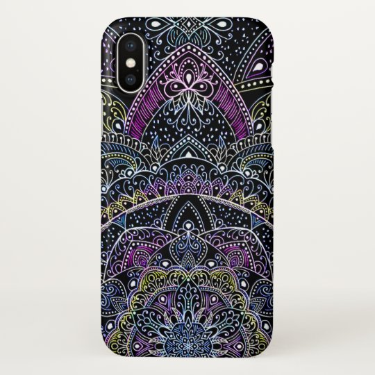 Eastern Zen Bright colourful Mandala lace black iPhone