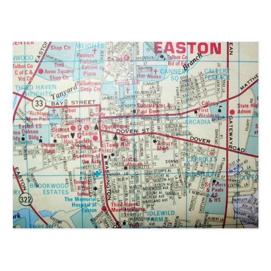 EASTON MD, Vintage Map Postcard