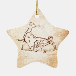 """""""Easy Boy"""" Dog Walking Man Christmas Ornament"""