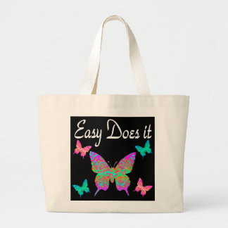 EASY DOES IT PRETTY BUTTERFLY DESIGN JUMBO TOTE BAG
