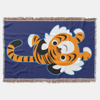 Easy-Going Cute Cartoon Tiger Throw Blanket