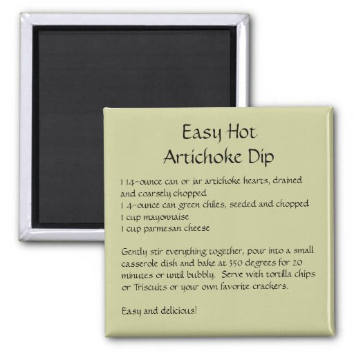 Easy Hot Artichoke Dip Recipe on a Magnet