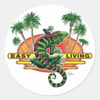 Easy Living Lizard on the Beach Classic Round Sticker
