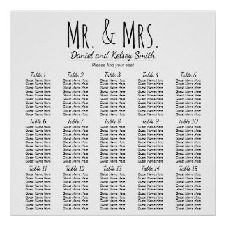 Easy Wedding Seating Chart - More Tables | Poster