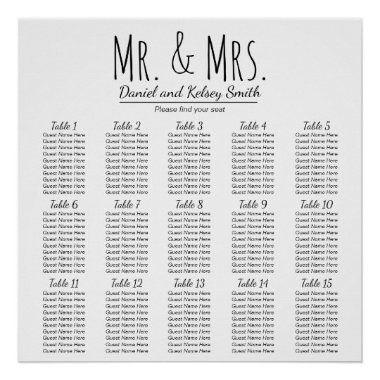 Easy Wedding Seating Chart - More Tables |