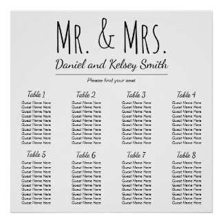 Easy Wedding Seating Chart | Poster