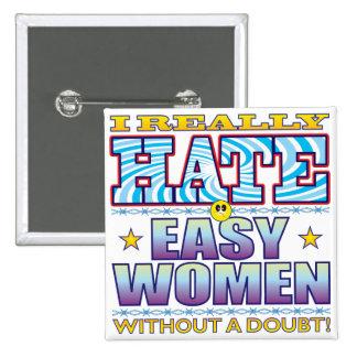 Easy Women Hate Face 15 Cm Square Badge