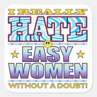 Easy Women Hate Face Square Sticker