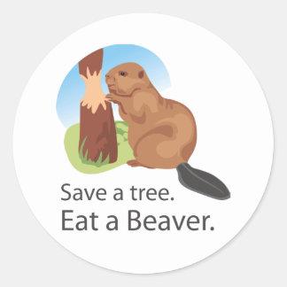 Eat A Beaver Round Sticker