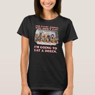 """""""Eat a Dozen Animals"""" Women's Black T-Shirt"""