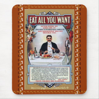 Eat all you want-Stuarts Vintage Dyspepsia Tablet  Mouse Mat