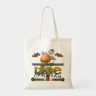Eat and Live Healthy Canvas Bags