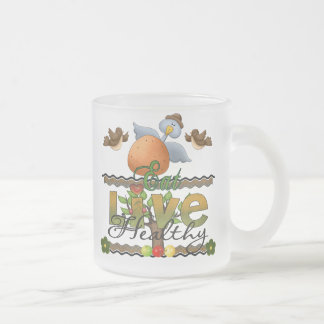 Eat and Live Healthy Frosted Glass Mug