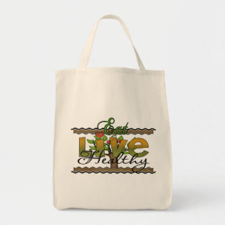 Eat and Live Healthy Grocery Tote Bag
