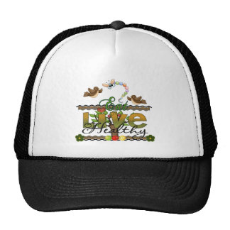 Eat and Live Healthy Trucker Hats