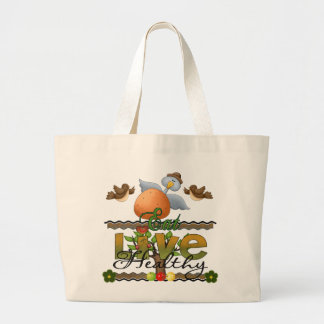 Eat and Live Healthy Jumbo Tote Bag