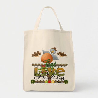 Eat and Live Healthy Tote Bags