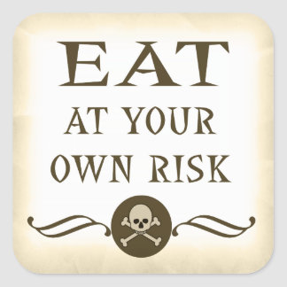 Eat At Your Own Risk Halloween Buffet Sign Sticker