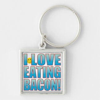 Eat Bacon Life B Silver-Colored Square Key Ring