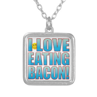 Eat Bacon Life B Silver Plated Necklace