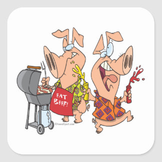 eat beef funny barbecue BBQing pigs Square Sticker