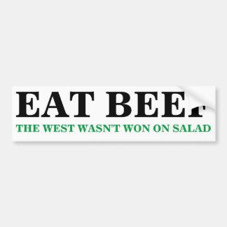 EAT BEEF The West Wasn't Won on Salad Bumper Stckr Bumper Sticker