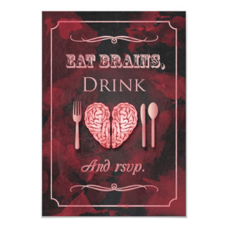 Eat Brains, Drink and be Married Zombie RSVP 9 Cm X 13 Cm Invitation Card