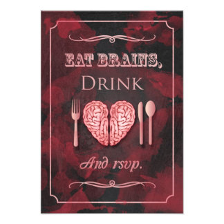 Eat Brains Drink and be Married Zombie RSVP Personalized Invite