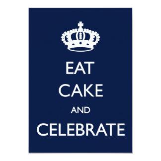 Eat Cake and Celebrate Birthday Invite- Navy 13 Cm X 18 Cm Invitation Card