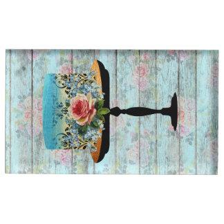 Eat Cake Wood Vintage Rose Table Card Holder