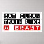 Eat Clean Train Like A Beast in Red Print