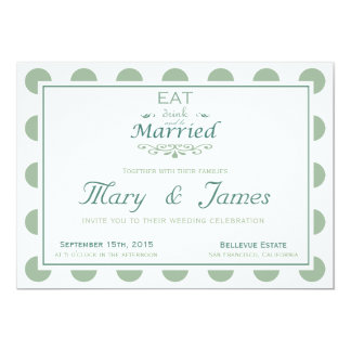EAT, DRINK AND BE MARRIED (blue horizontal) 13 Cm X 18 Cm Invitation Card