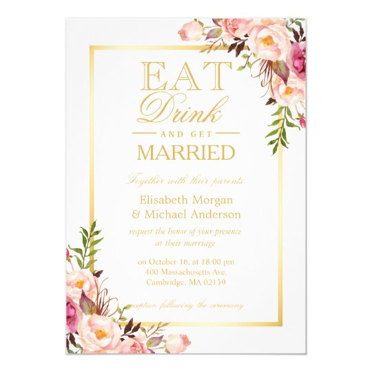 EAT Drink and Be Married Chic Gold Floral