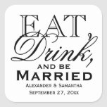 Eat, Drink, and Be Married Custom Wedding Favor Stickers