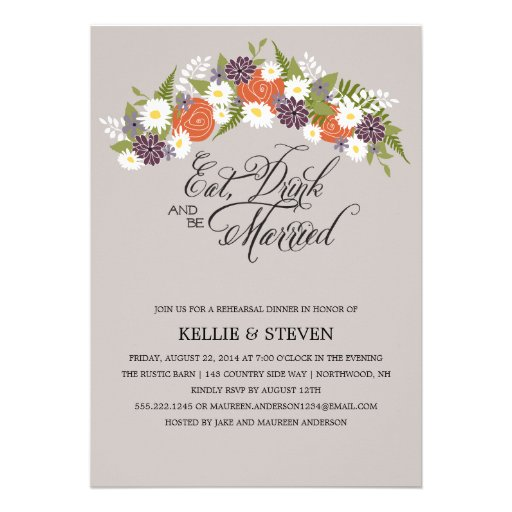Eat Drink and Be Married Floral Wreath Invites