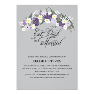 Eat Drink and Be Married Floral Wreath Personalized Announcements