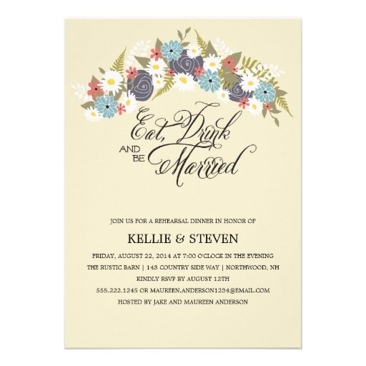 Eat Drink and Be Married Floral Wreath Personalized Announcement