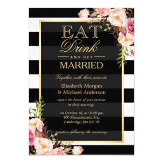 EAT Drink and Be Married Golden Floral Wedding 13 Cm X 18 Cm Invitation Card