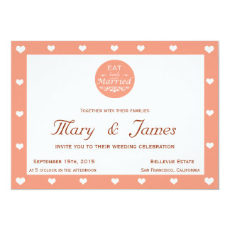 EAT, DRINK AND BE MARRIED & HEARTS (horizontal) 13 Cm X 18 Cm Invitation Card