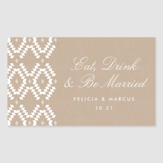 Eat, Drink and Be Married label, mini champagne