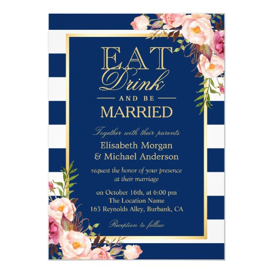 EAT Drink and Be Married Navy Blue Stripes