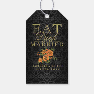 Eat, Drink and be Married - Orange Floral Gift Tags