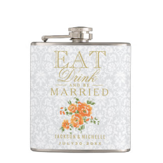 Eat, Drink and be Married - Orange Floral Hip Flask