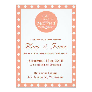 """EAT, DRINK AND BE MARRIED"" PINK DIAMONDS vertical 5"" X 7"" Invitation Card"