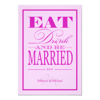 Eat Drink and be Married - Pink & Purple RSVP Card 9 Cm X 13 Cm Invitation Card