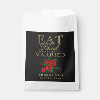 Eat, Drink and be Married - Red Floral Favour Bags
