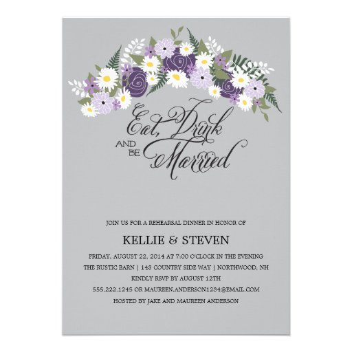 Eat Drink and Be Married Rustic Floral Wreath Custom Invite