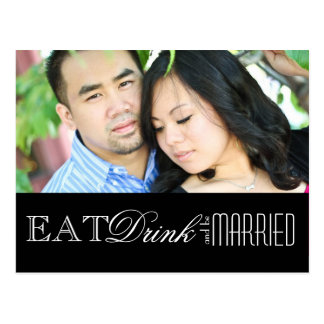 Eat Drink and be Married Save the Date Post Card