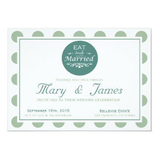 """""""EAT, DRINK AND BE MARRIED"""" TONDO(blue horizontal) 13 Cm X 18 Cm Invitation Card"""