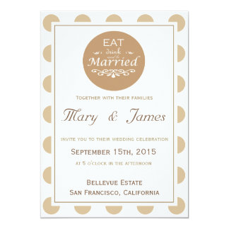 """""""EAT, DRINK AND BE MARRIED"""" TONDO (brown vertical) 13 Cm X 18 Cm Invitation Card"""